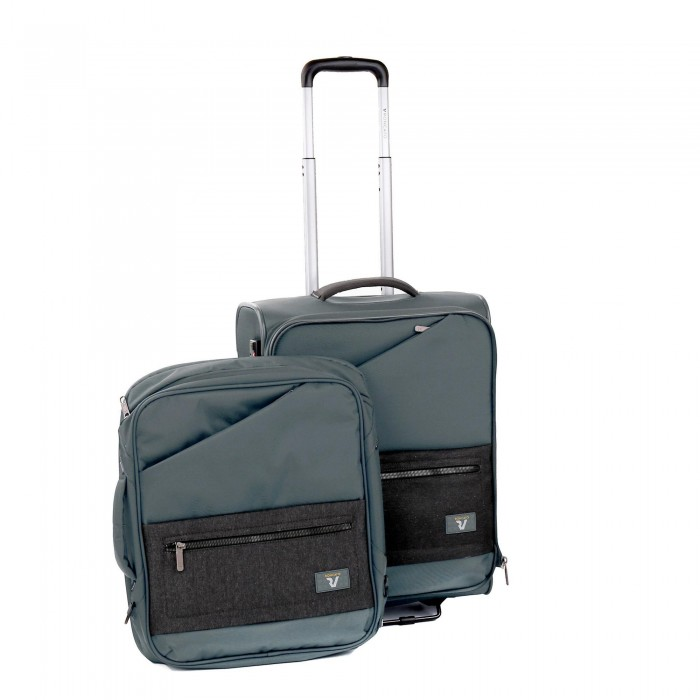 RONCATO HYPER CABIN TROLLEY WITH REMOVABLE BACKPACK ANTHRACITE