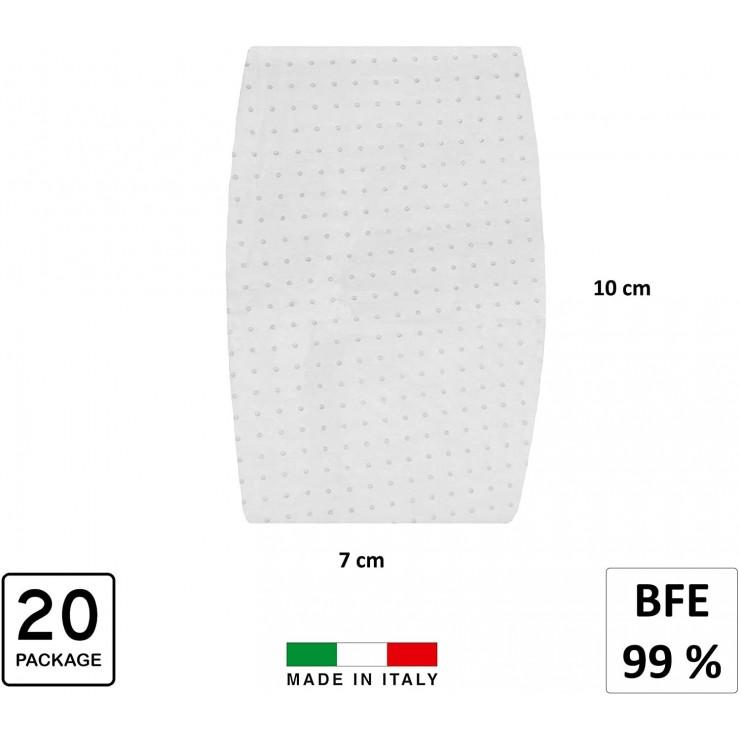 RONCATO Kit 20 Filtri Mascherina con Test Bfe 99% Unisex – Adulto, Bianco, M